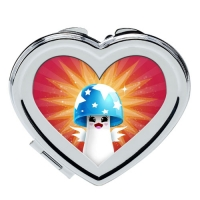 Custom heart-shaped cosmetic mirror
