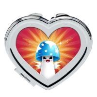Custom heart-shaped cosmetic mirror